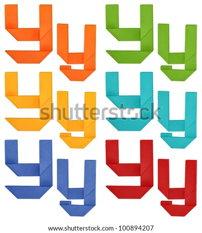 """Set of capital letter and lowercase letter """"Y"""" in various color. Origami alphabet  letter  on white background. - stock photo"""