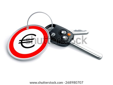 Set of car keys with keyring and Euro currency symbol. Concept for Europe car prices, buyer or selling a vehicle in the Europe. - stock photo