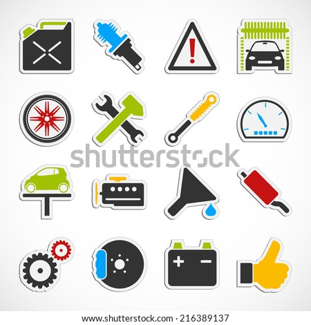 Set of car service icons over white background. - stock photo