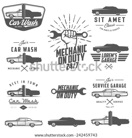 Set of car service labels, emblems and design elements - stock photo