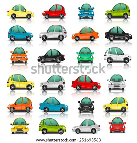 Set of car side and front view illustration - stock photo