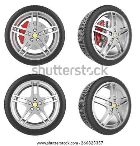 Set of car wheels isolated on white background. 3d illustration high resolution - stock photo