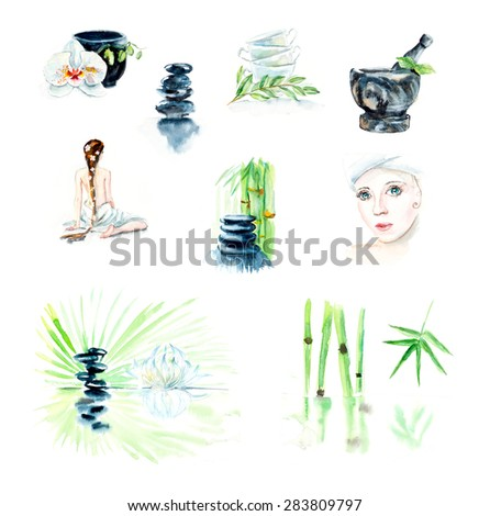 Set of cards for SPA salon. SPA concept. Watercolor hand drawn illustration.  - stock photo