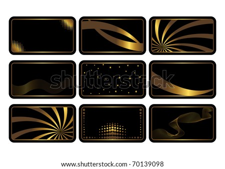 Set of cards, gold on the black. Business cards. Visiting cards. Invitations. The similar image in my portfolio in vector format. - stock photo