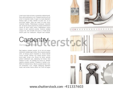 set of carpentry and woodwork industry tools on white background with copy space top view. carpenter working table - stock photo