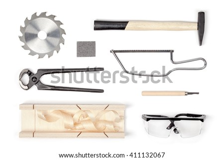 set of carpentry tools on white background with copy space top view. carpenter working table. carpentry and woodwork industry flat lay concept - stock photo