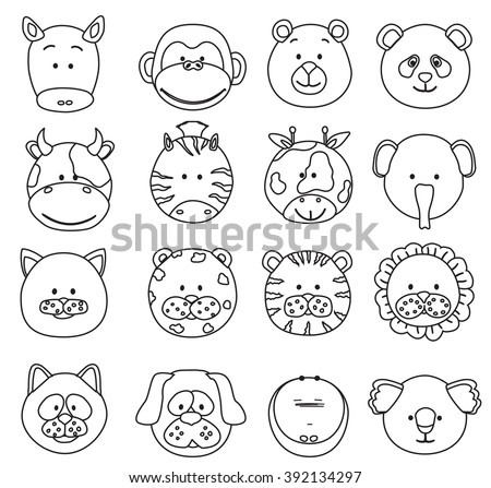 Set of cartoon animals faces thin line icons. Collection of cute jungle and other baby animal faces. raster - stock photo
