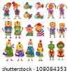 Set of cartoon characters. Artwork - stock photo