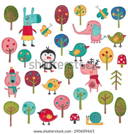 Set of cartoon characters over white background - stock photo