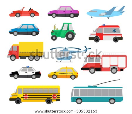 set of cartoon cute cars and vehicles. raster version - stock photo