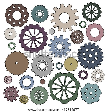 Set of cartoon doodle gears. Mechanical elements for business design. Decorative illustration isolated on white background. All cogs organized in groups for easy editing. - stock photo