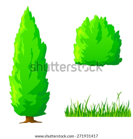 Set of cartoon green plants. Vertical tree, bush, grass isolated on white - stock photo
