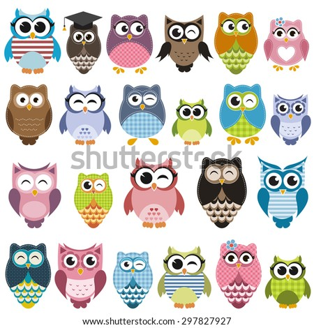 Set of cartoon owls with various emotions. Raster version - stock photo