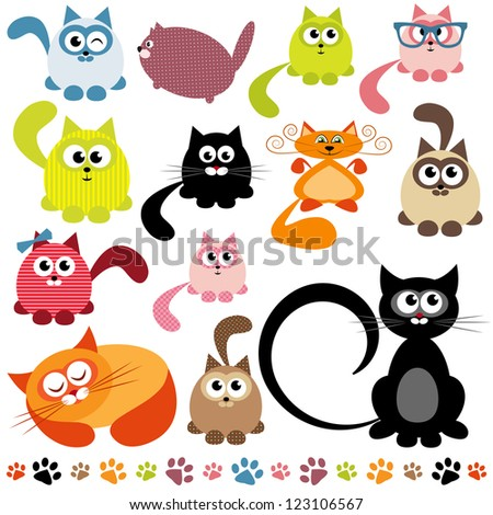 set of cats. Raster version - stock photo