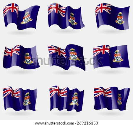 Set of Cayman Islands flags in the air.  illustration - stock photo