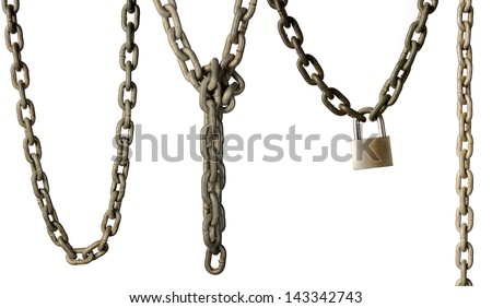 Set of chains isolated over white background - stock photo