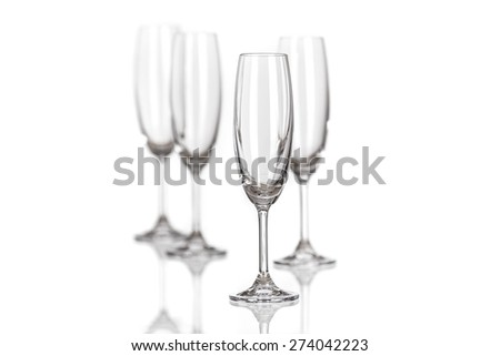 set of champagne glasses isolated on white - stock photo