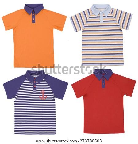 Set of child polo shirts isolated on white background - stock photo