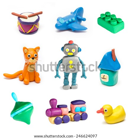 Set of children's toys molded from clay. Vol. 2 - stock photo