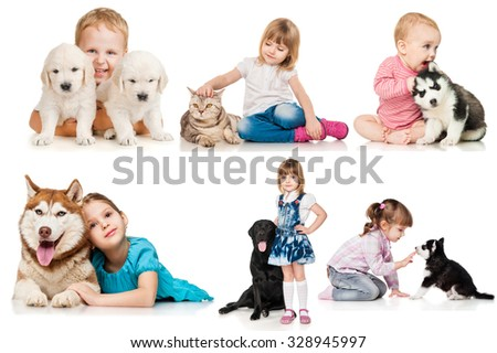 Set of children with dogs and cats  - stock photo