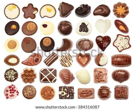 Set of chocolate candie, chocolate collection top view isolated on white - stock photo