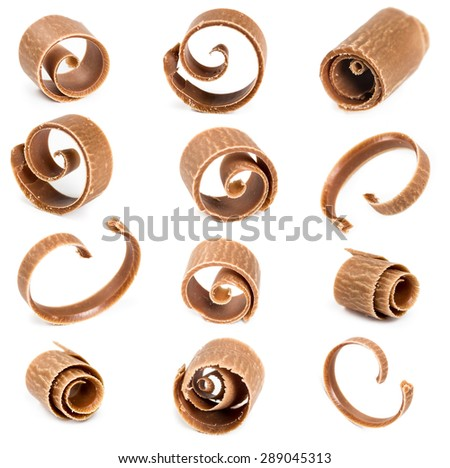 Set of chocolate shavings isolated on white background - stock photo