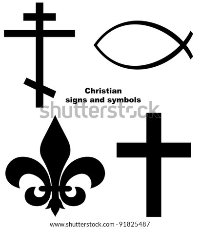 Set of Christian signs or symbols isolated on a white background. - stock photo