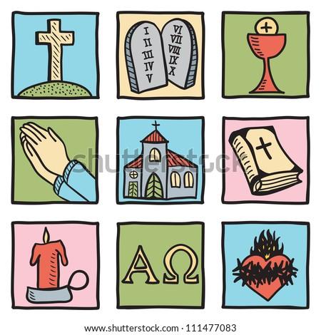 Set of christianity symbols - hand drawn illustration - stock photo