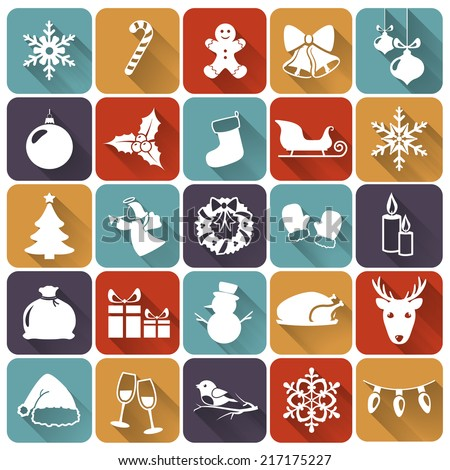 Set of christmas and new year flat icons with long shadows. Raster illustration. - stock photo