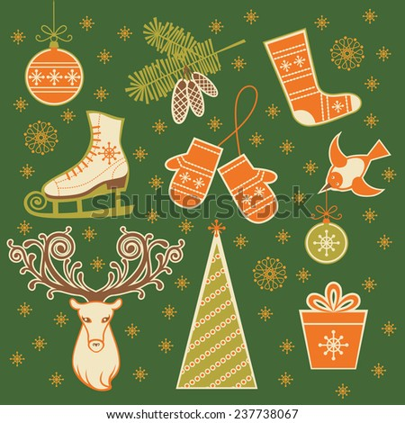Set of Christmas and winter icon. Christmas tree, decoration, branches of fir, ice skates, mittens, sock, bird, head of deer, gift box. Simple illustration for print, web - stock photo