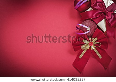 Set of Christmas balls bow present box holidays concept. - stock photo
