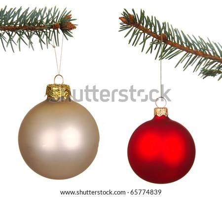 Set of Christmas Balls isolated on white - stock photo