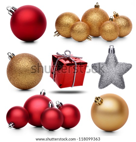 Set of christmas decorations on a white background - stock photo