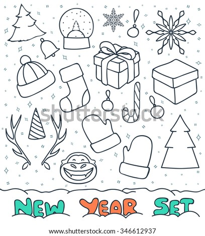 Set of Christmas doodle sketch of objects for compositions and design. Snow sphere and gift. Christmas tree decoration and mittens. Cervine horns and conical cap. Symbol of 2016 year - the Monkey - stock photo