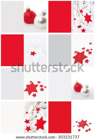 Set of Christmas gift tags or mini cards with stars and Christmas balls in red / white / silver - stock photo