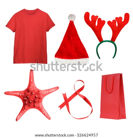 Set of Christmas gifts - red t-shirt, Santa hat, deer antlers, red sea star, ribbon, present bag isolated on white. Christmas shopping concept - stock photo
