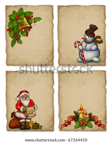 Set of christmas greeting cards - stock photo