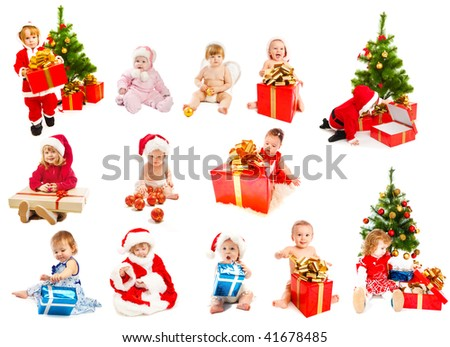 Set of Christmas kids - from infants to preschoolers - stock photo