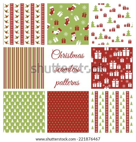 Set of christmas seamless patterns. Raster version - stock photo
