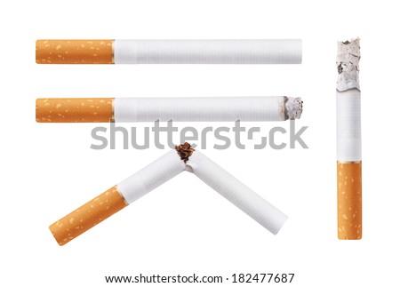 Set of cigarettes. Isolated on white background - stock photo