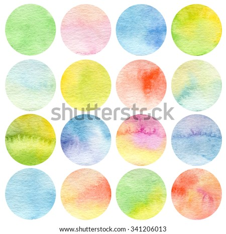 Set of circle watercolor. Texture paper. - stock photo