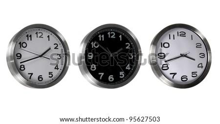 Set of classic clocks isolated on white - stock photo