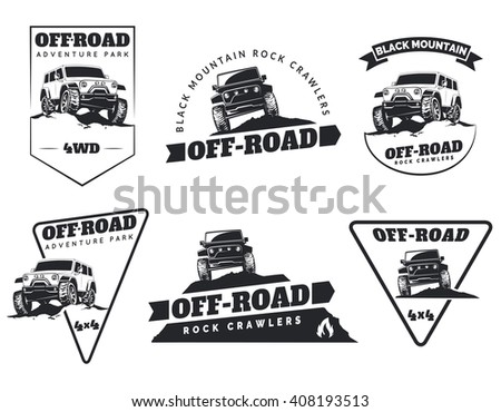 Set of classic off-road suv car emblems, badges and icons. Rock crawler car, off-road suv adventure and car club design elements. Isolated suv front and side view. - stock photo