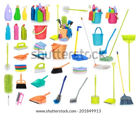 set of Cleaning supplies isolated on white background - stock photo