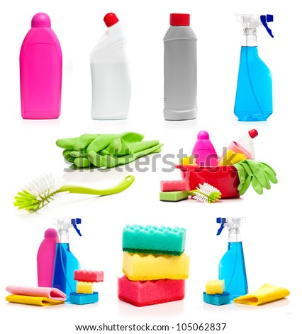 set of cleaning supplies photos isolated on white - stock photo