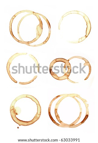 set of close up of coffee cup marks on white background - stock photo