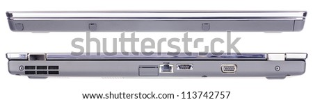 Set of closed laptop's front and rear views isolated on the white - stock photo