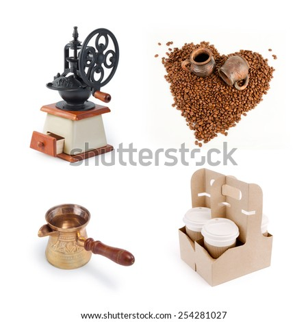 Set of coffee accessories on white background - stock photo