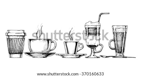 set of coffee cups in ink hand drawn style. isolated on white. - stock photo