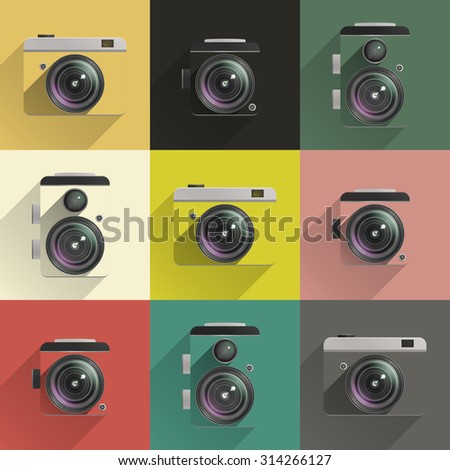 Set of color cameras on colored backgrounds in flat style. Raster version - stock photo